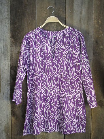 Ikat Kurti Cotton Tunic -Purple/White Ikat