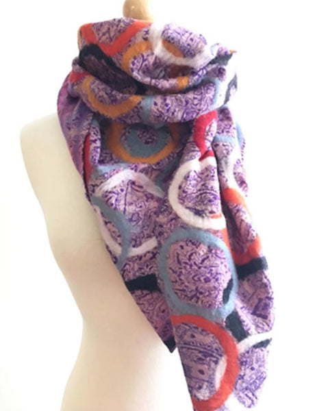 Violet Purple Felted Sari Circle Scarf|One-of-a-Kind Wearable Art