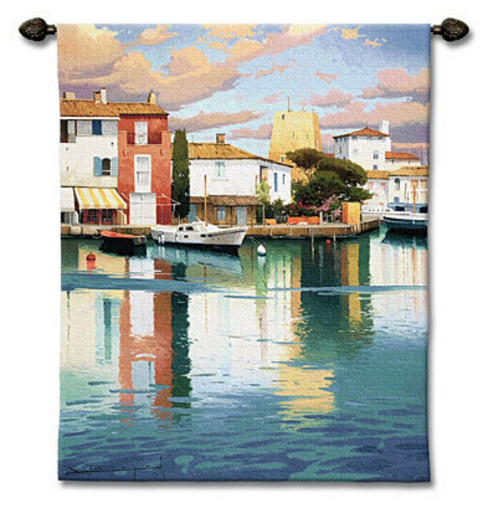 Harbor At Morning Light Wall Tapestry by Ramon Pujol© -