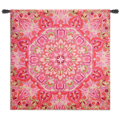 Rangoli Raspberry Wall Tapestry by Julianna James©