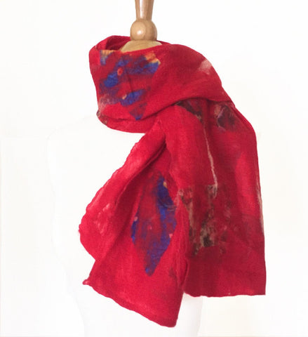 Red Felted Sari Collage Wool-Silk Scarf - One-of-a-Kind -   - 1