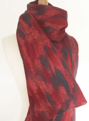 Red-Gray Nuno Felted Merino Wool-Sari Silk Scarf|One-of-a-Kind Wearable Art