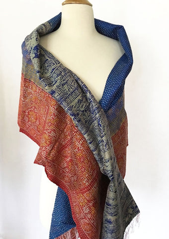 Kantha Silk Reversible Stole-Scarf  - Blue/Red/Gold
