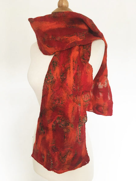 Red Felted Sari Circle Scarf|One-of-a-Kind Wearable Art