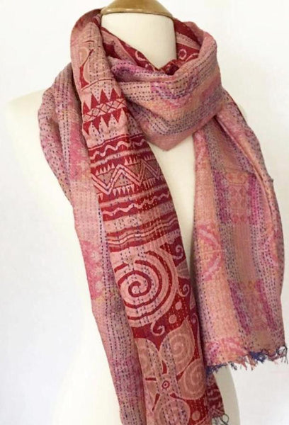 Kantha Silk Reversible Stole-Scarf  - Red/Mauve