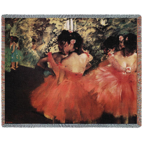 Edgar Degas© Dancers In Pink Woven Throw Blanket -