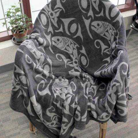 Debra Sparrow© Returning of the Salmon Velura™ Throw Blanket - Gray