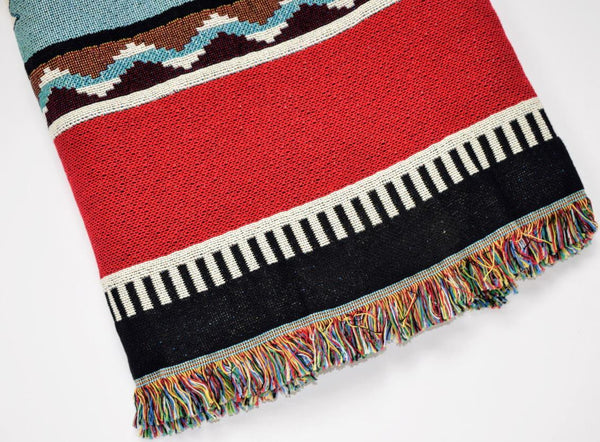 Southwest Rimrock Red Woven Cotton Throw Blanket