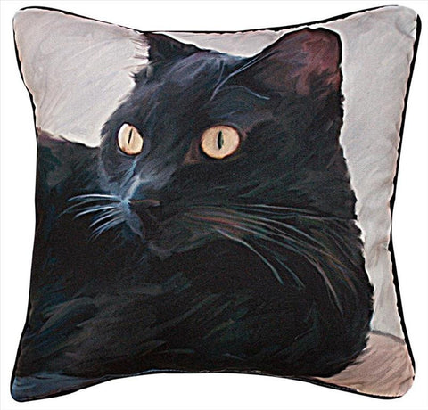 Black Cat Portrait Pillow by Robert McClintock© -