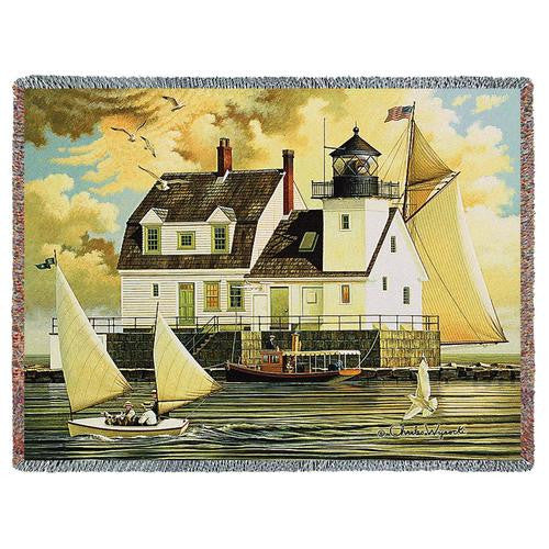 Rockland Breakwater Light Woven Throw Blanket by Charles Wysocki©