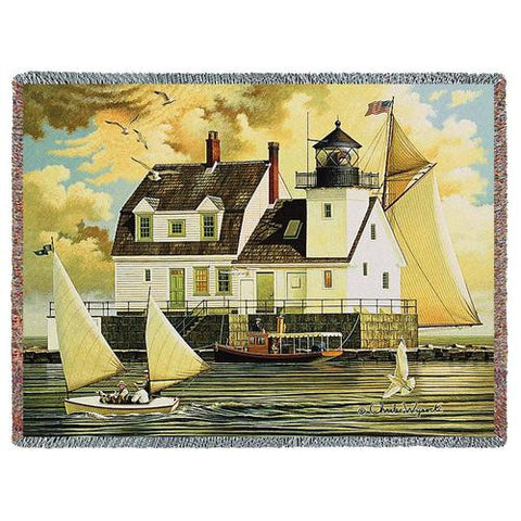 rockland breakwater light woven throw blanket by charles wysocki
