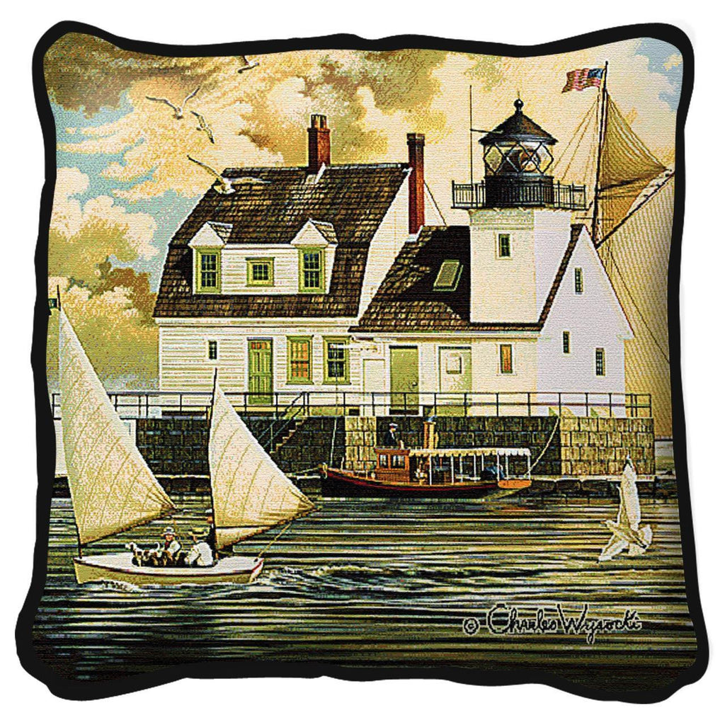 Charles Wysocki© Rockland Breakwater Light Tapestry Pillow Cover
