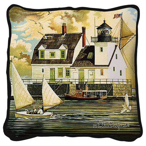 Rockland Breakwater Light Tapestry Pillow by Charles Wysocki©