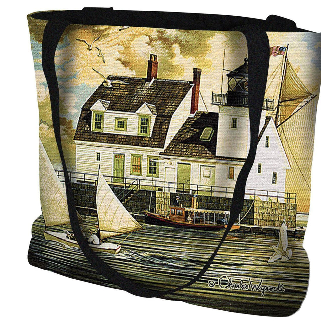 Rockland Breakwater Light Tapestry Tote by Charles Wysocki©