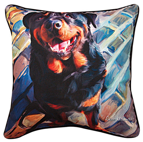 Handsome Rottie Rottweiler Pillow by Robert McClintock -