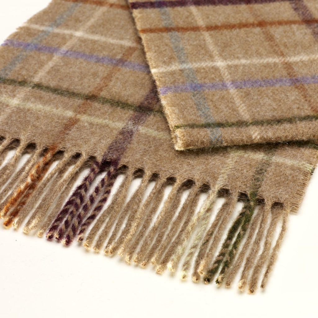 100% Merino Lambswool British Scarf - Camel Litton Windowpane -   - 1