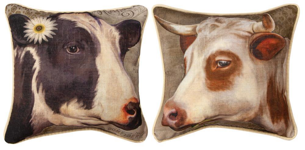 Barnyard Animals Cow Reversible Indoor Pillow by Suzanne Nicoll©