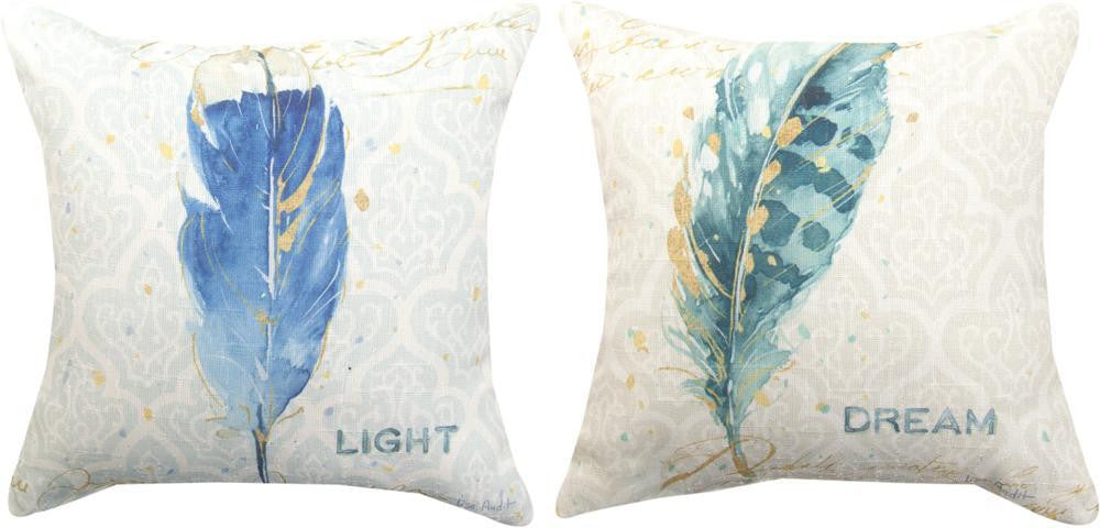 Indigo Feather Reversible Indoor Pillow by Lisa Audit©