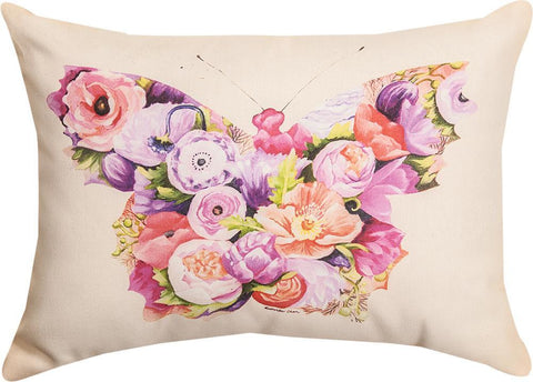 Floral Butterfly Rectangle Indoor Pillow by Kathleen Keil Hill©