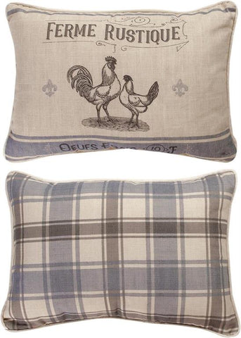 French Farmhouse Rectangle Reversible Indoor Pillow