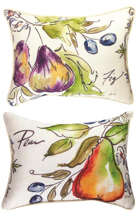 Tuscan Fruit Sketch Grape Rectangle Reversible Indoor Pillow by Tre Sorelle©