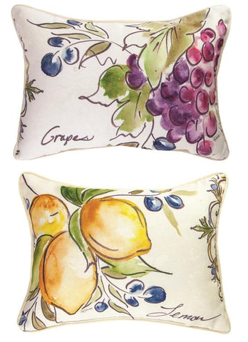 Tuscan Fruit Sketch Figs Rectangle Reversible Indoor Pillow by Tre Sorelle©