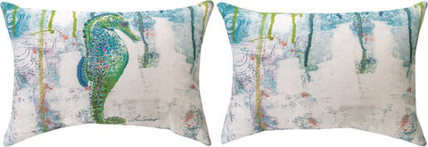 Jewels Of The Sea Seahorse Indoor-Outdoor Reversible Pillow by Lori Siebert©