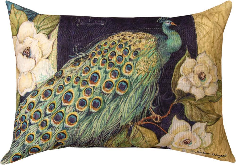 Peacock and Flowers Indoor/Outdoor Rectangle Pillow by Susan Winget©