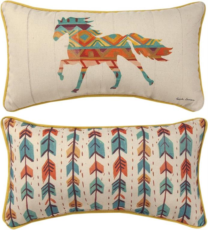 Southwest Vibes Horse Reversible Rectangle Accent Pillow by Farida Zaman©