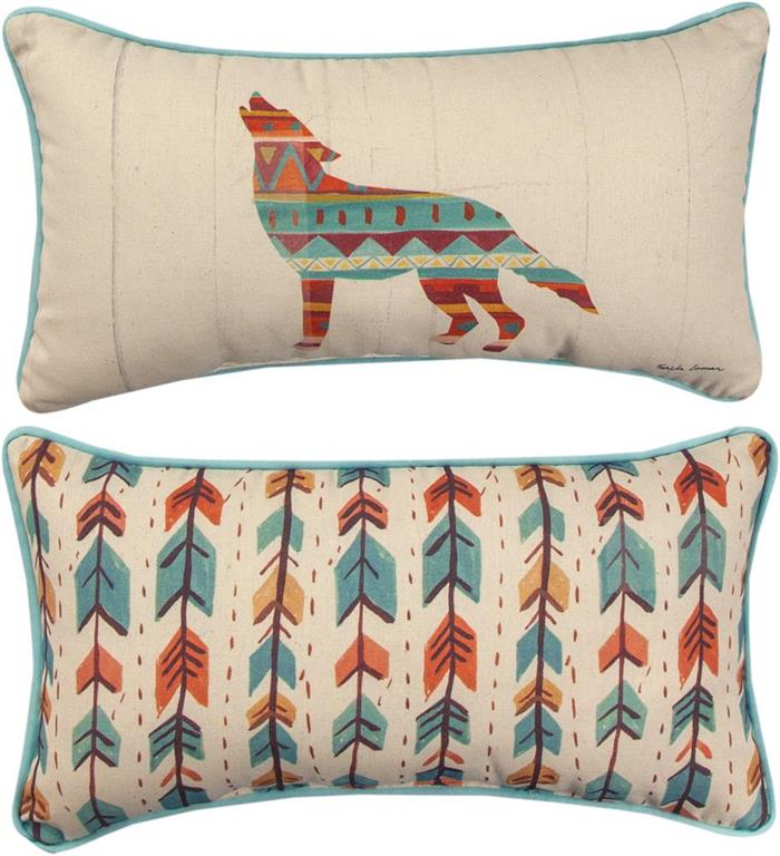 Southwest Vibes Wolf Reversible Rectangle Accent Pillow by Farida Zaman©