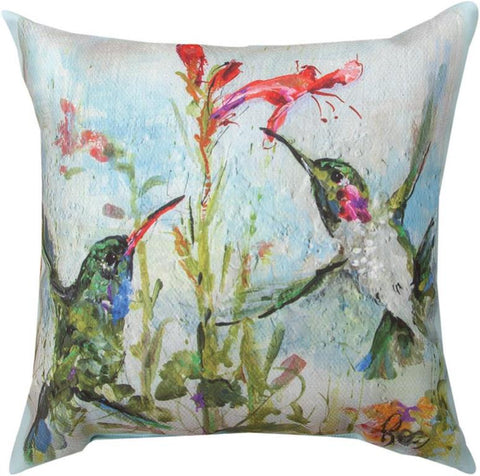 Two Hummingbirds Indoor/Outdoor Pillow by Rozanne Priebe©