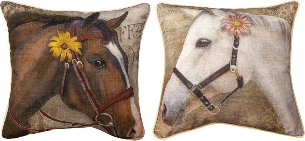 Barnyard Animals Horse Reversible Indoor Pillow by Suzanne Nicoll©