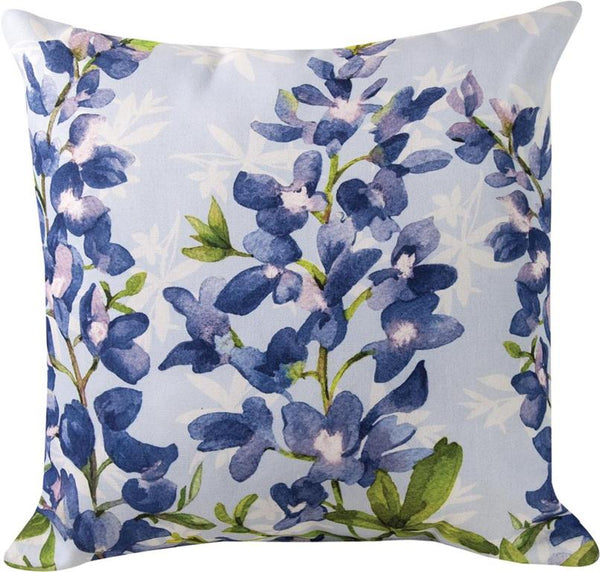 Blue Bonnets In Bloom Indoor/Outdoor Pillow by Martha Collins© - Floral Motif