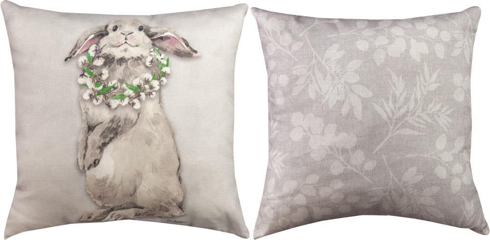 Bunny Trail Francis & Florence Indoor-Outdoor Reversible Pillow by Martha Collins©