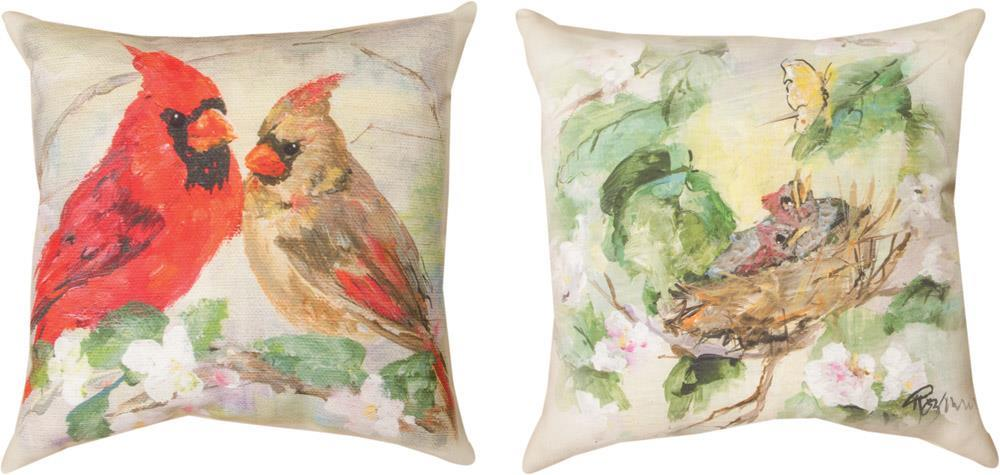 Cardinals in Flowers Indoor-Outdoor Reversible Pillow by Rozanne Priebe©