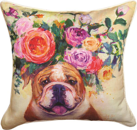 Dogs In Bloom Bulldog Accent Pillow by Geoffrey Allen©