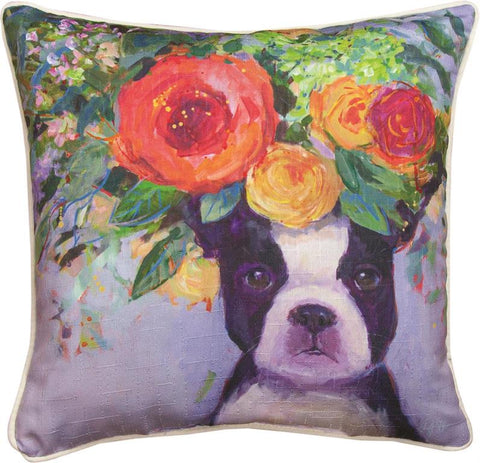 Dogs In Bloom Boston Accent Pillow by Geoffrey Allen©
