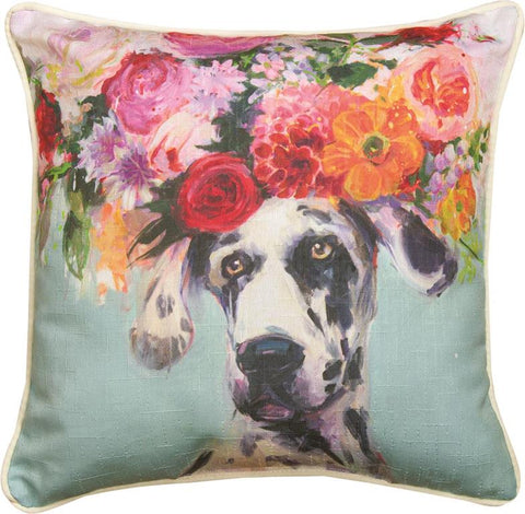 Dogs In Bloom Dane Accent Pillow by Geoffrey Allen©