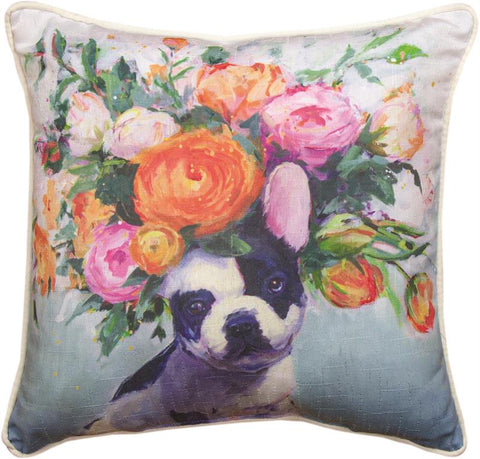 Dogs In Bloom French Bull Accent Pillow by Geoffrey Allen©
