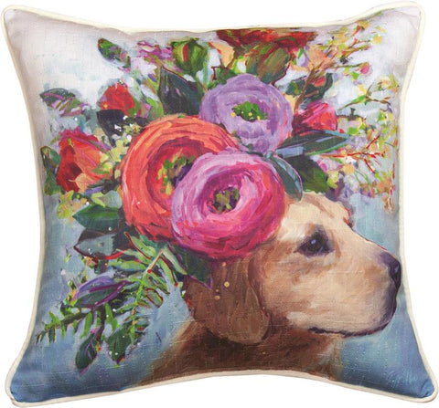 Dogs In Bloom Lab Accent Pillow by Geoffrey Allen©