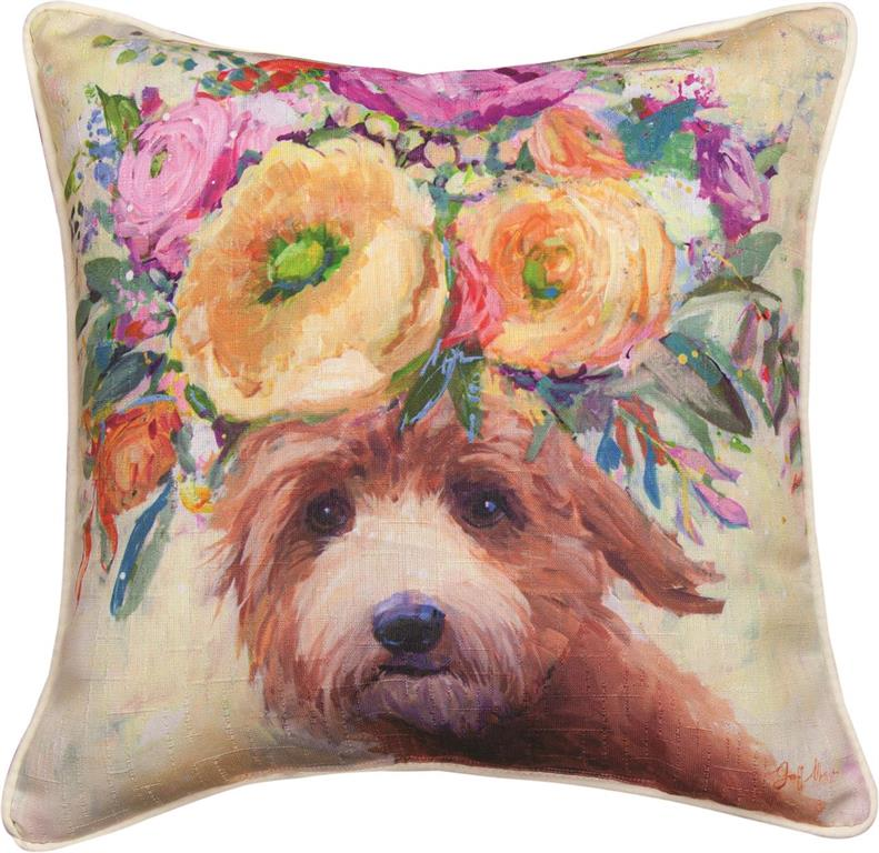 Dogs In Bloom Doodle Accent Pillow by Geoffrey Allen©