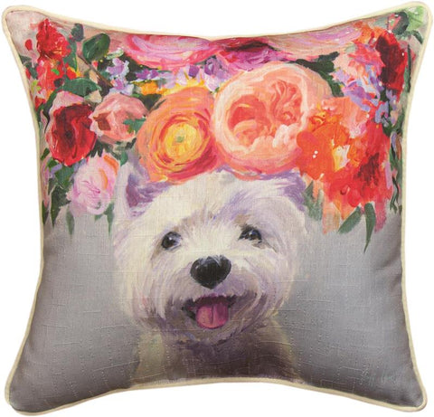 Dogs In Bloom Westie Accent Pillow by Geoffrey Allen©