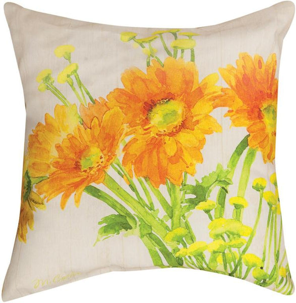 Gerbera Daisies Indoor/Outdoor Pillow by Martha Collins© - Floral Motif