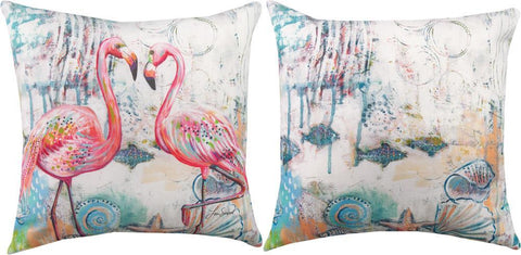Jewels Of The Sea Flamingos Indoor-Outdoor Reversible Pillow by Lori Siebert©