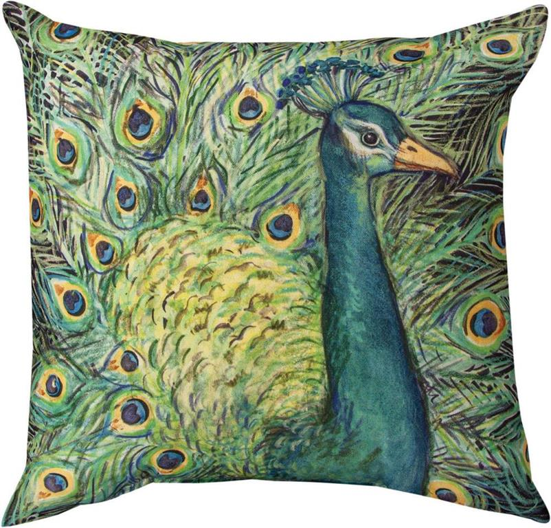 Peacock and Flowers Indoor/Outdoor Pillow by Susan Winget©
