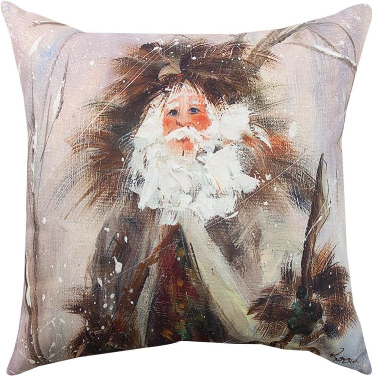 Northwoods Santa Indoor-Outdoor Pillow by Rozanne Priebe© - Holiday Motif