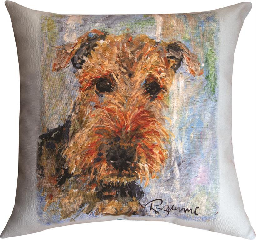 Pet Love Airdale Riley Indoor-Outdoor Pillow by Rozanne Priebe©