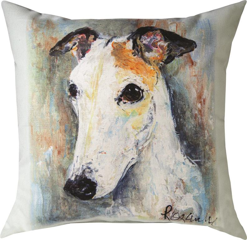 Pet Love Greyhound Monk Indoor-Outdoor Pillow by Rozanne Priebe©