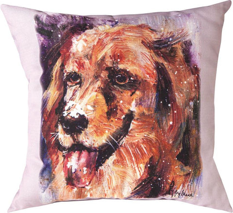 Pet Love Golden Indoor-Outdoor Pillow by Rozanne Priebe©