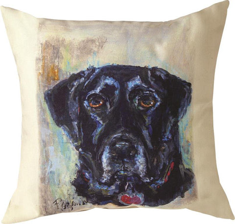 Pet Love Black Lab Indoor-Outdoor Pillow by Rozanne Priebe©